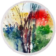 Red And Green Round Beach Towel by Anil Nene