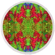 Red And Green Floral Abstract Round Beach Towel by Linda Phelps