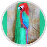 Red And Green Macaw  Round Beach Towel by Ann Michelle Swadener