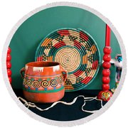 Red And Green Still Life Round Beach Towel by M Diane Bonaparte