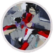 Round Beach Towel featuring the painting Red And Grey Abstract By Elise Palmigiani by Elise Palmigiani