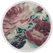 Red And Pink Flowers Round Beach Towel