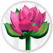 Red And Pink Lotus Floral Watercolor Painting 619 Round Beach Towel
