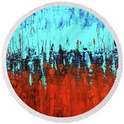 Red And Turquoise Abstract Round Beach Towel