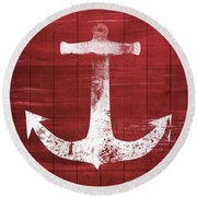Round Beach Towel featuring the mixed media Red And White Anchor- Art By Linda Woods by Linda Woods