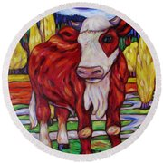 Red And White Bull Calf Round Beach Towel