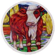 Round Beach Towel featuring the painting Red And White Bull Calf by Dianne  Connolly