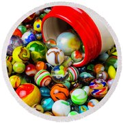 Red And White Jar With Marbles Round Beach Towel