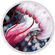 Red And White Jellyfish  Round Beach Towel