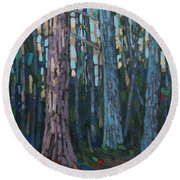 Red And White Pines Round Beach Towel