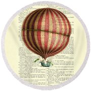 Red And White Striped Hot Air Balloon Antique Photo Round Beach Towel