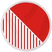 Red And White Triangles Round Beach Towel by Linda Woods