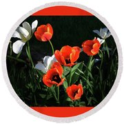 Round Beach Towel featuring the photograph Red And White Tulips by Kathleen Stephens