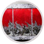 Red And White Window # 1 Round Beach Towel