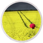 Red And Yellow And....... Round Beach Towel