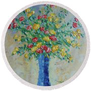 Red And Yellow Carnations Round Beach Towel