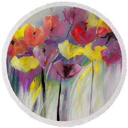 Red And Yellow Floral Field Painting Round Beach Towel by Lisa Kaiser