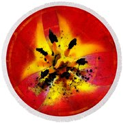 Red And Yellow Flower Round Beach Towel by Judi Saunders