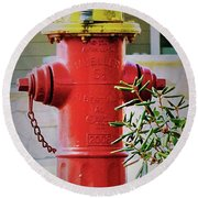 Red And Yellow Hydrant Round Beach Towel