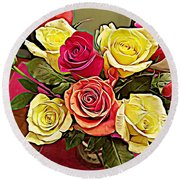 Red And Yellow Rose Bouquet Round Beach Towel