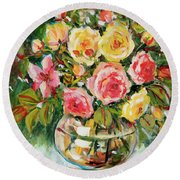 Red And Yellow Roses Round Beach Towel by Alexandra Maria Ethlyn Cheshire