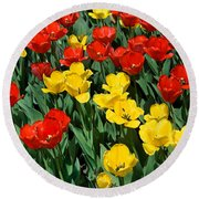 Red And Yellow Tulips  Naperville Illinois Round Beach Towel