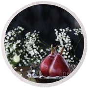 Red Anjou Pears Round Beach Towel by Stephanie Frey