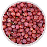 Red Apples Background Round Beach Towel by GoodMood Art