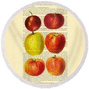 Red Apples Still Life Vintage Illustration Round Beach Towel