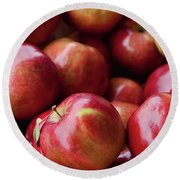 Red Apples Round Beach Towel