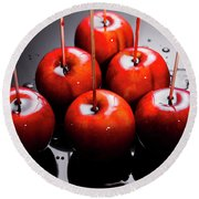Red Apples With Caramel  Round Beach Towel