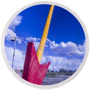 Red Arrow 2 Round Beach Towel