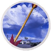 Red Arrow With Clouds Round Beach Towel