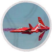 Round Beach Towel featuring the photograph Red Arrows Crossover by Gary Eason