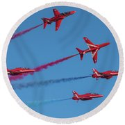 Round Beach Towel featuring the photograph Red Arrows Enid Break by Gary Eason
