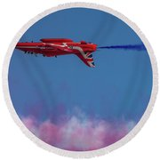 Round Beach Towel featuring the photograph Red Arrows Hawk Inverted  by Gary Eason