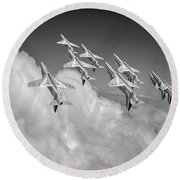 Round Beach Towel featuring the photograph Red Arrows Sky High Bw Version by Gary Eason