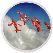 Round Beach Towel featuring the photograph Red Arrows Sky High by Gary Eason