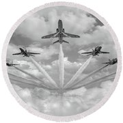 Round Beach Towel featuring the photograph Red Arrows Smoke On Bw Version by Gary Eason