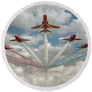 Round Beach Towel featuring the photograph Red Arrows Smoke On  by Gary Eason