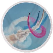 Round Beach Towel featuring the photograph Red Arrows Twister by Gary Eason