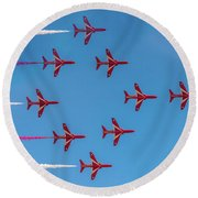 Round Beach Towel featuring the photograph Red Arrows Typhoon Formation by Gary Eason