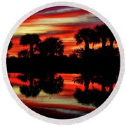 Red At Night Round Beach Towel