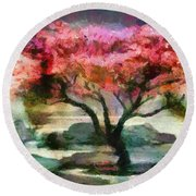 Red Autumn Tree Round Beach Towel