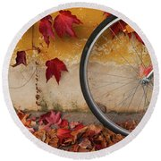 Red Autumn Round Beach Towel by Yuri Santin