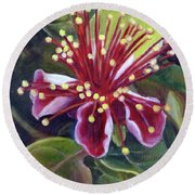 Pineapple Guava Flower Round Beach Towel
