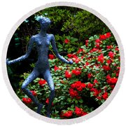 Round Beach Towel featuring the photograph Red Azalea Lady by Susanne Van Hulst