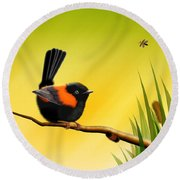Round Beach Towel featuring the digital art Red Backed Fairy Wren by John Wills
