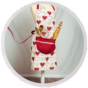 Red Baking Apron Round Beach Towel