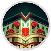 Red Balconys Round Beach Towel by Jerry Golab